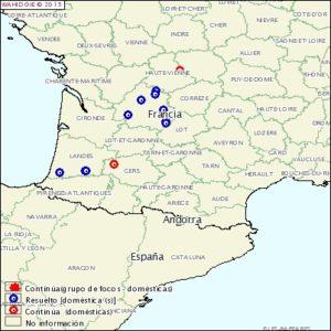 Focos de Gripe Aviar en Francia confirmados a 14 diciembre 2015