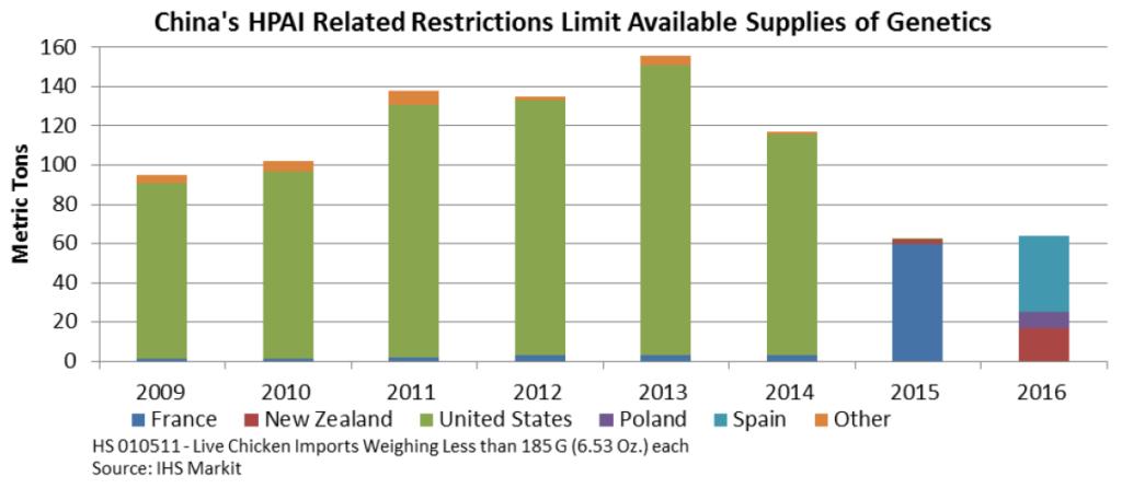 Las restricciones de HPAI de China limitan los suministros disponibles de genética.